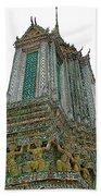 Top Of Temple Of The Dawn-wat Arun In Bangkok-thailand Bath Towel