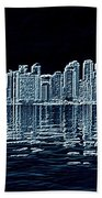 Toronto Skyline In Blue Bath Towel