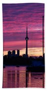 Toronto Skyline - The Boats Are Coming In Bath Towel