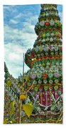 Tower Closeup Of Buddhist Temple At Grand Palace Of Thailand  Bath Towel