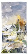 Town By The Rhine Falls In Switzerland Bath Towel