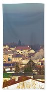 Town Of Bjelovar Winter Skyline Bath Towel