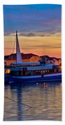 Town Of Vodice Harbor And Monument Bath Towel
