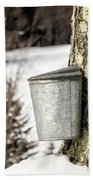 Traditional Sap Bucket On Maple Tree In Vermont Bath Towel