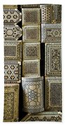 Traditional Souvenir Boxes In Market Of Cairo Egypt  Bath Towel