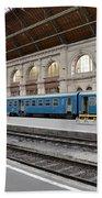 Train At Station Platform Budapest Hungary Bath Towel