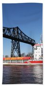 Transporter Bridge Over Canal Rendsburg Bath Towel