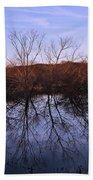 tree reflection on Wv pond Bath Towel