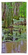 Trees And Knees In Tupelo/cypress Swamp At Mile 122 Of Natchez Trace Parkway-mississippi Bath Towel