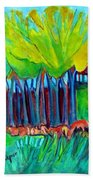 Trees And Meadow Bath Towel