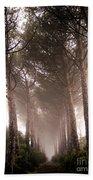 Trees And Mist Bath Towel
