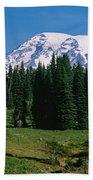 Trees In A Forest, Mt Rainier National Bath Towel