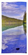 Trees Reflected At Valley Of The Five Lakes Bath Towel