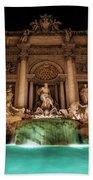 Trevi Fountain Illuminated At Nighttime Bath Towel