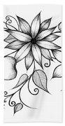 Tri-floral Sketch Bath Towel