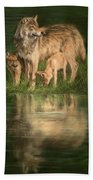 Trio Of Wolves Bath Towel by David Stribbling