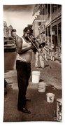 Trombone Man On Royal St. New Orleans Bath Towel
