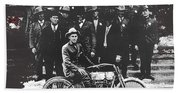 Tucson Police Department  On Steps Of City Hall With 1st Police Motorcycle C. 1917 Tucson Arizona Bath Towel