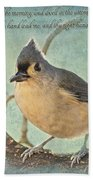 Tufted Titmouse With Verse IIi Bath Towel