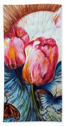 Tulips And Butterflies Bath Towel