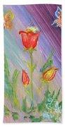 Tulips And Butterflies Bath Towel