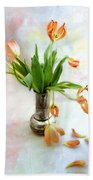 Tulips In An Old Silver Pitcher Bath Towel