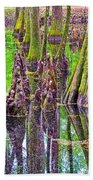 Tupelo/cypress Swamp Reflection At Mile 122 Of Natchez Trace Parkway-mississippi Bath Towel