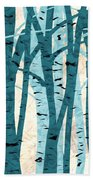 Turquoise Birch Trees Hand Towel