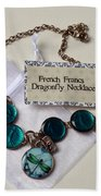 Turquoise French Francs Dragonfly Necklace Bath Towel