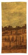 Landscape And Winding Road With Cypress Trees Bath Towel