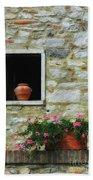 Tuscan Window And Flower Pot Bath Towel
