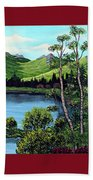 Twin Ponds And 23 Psalm On Red Horizontal  Bath Towel