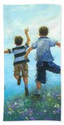 Two Brothers Leaping Bath Towel