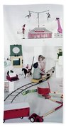 Two Children Playing With Vintage Toys Bath Towel