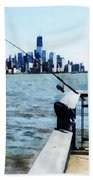 Two Fishing Poles Bath Towel
