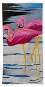 Two Flamingo's In Acrylic Bath Towel