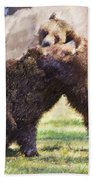 Two Grizzly Bears Ursus Arctos Play Fighting Bath Towel