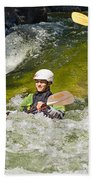 Two Kayakers On A Fast River Bath Towel