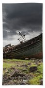 Two Large Boats Abandoned On The Shore Bath Towel