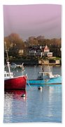 Two Lobster Boats On Marblehead Harbor With A Red Sky Bath Towel