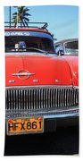 Two Old American Cars Bath Towel