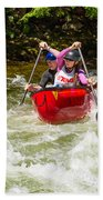 Two Paddlers In A Whitewater Canoe Making A Turn Bath Towel