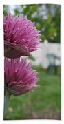 Two Pink Chives Bath Towel