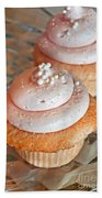 Two Pink Cupcakes Art Prints Bath Towel