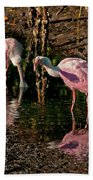 Two Pink Spoonbills Bath Towel