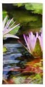 Two Purple Water Lotus Bath Towel