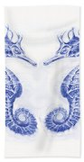 Two Seahorses- Blue Hand Towel