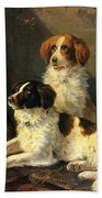 Two Spaniels Waiting For The Hunt Bath Towel