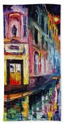 Two Streets - Palette Knife Oil Painting On Canvas By Leonid Afremov Bath Towel