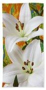 Two White Lilies Bath Towel